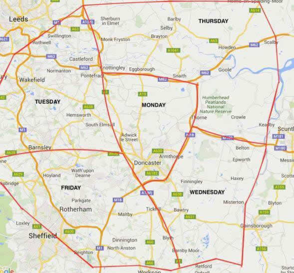 zone area map South Yorkshire