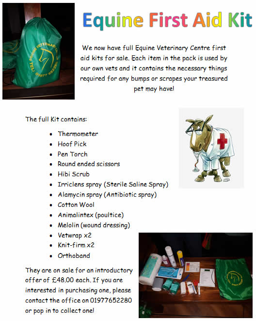 first aid kit Equine vet centre