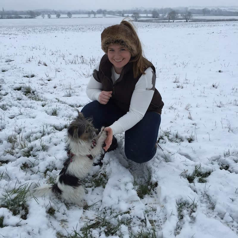 New vet Ellie Griffiths at Equine Veterinary Centre with her dog