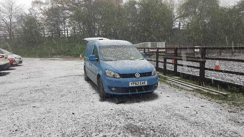 Snow at Equine Veterinary Centre showing snow on the ambulance